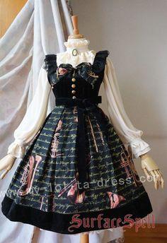 Surface Spell Musical Instruments Prints Lolita Jumper Dress $99.99-Cotton Lolita Dresses - My Lolita Dress