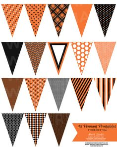 18 Orange Black and White Pennant Banners  Decor / by HuesStudio, $3.50