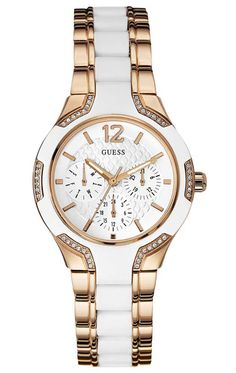 GUESS Women's White Silicone Rose Gold Tone Stainless Watch for sale online Trendy Watches, Cool Watches, Guess Watches, Women's Watches, White Watches, Ladies Watches, Watches Online, Shops, Fashion Mode