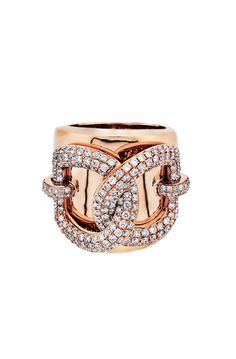 Haute Vault's 18K rose gold, wide band features interlocking diamond semicircles in an iconic design. This stellar piece will have your friends vying to know who your personal shopper is-wave them off with a spectacularly adorned hand! Ring Size 6 1/2