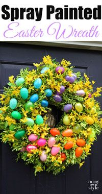 Plastic Easter Eggs have never looked so beautiful! Spray paint a wreath for Easter this year with In My Own Style!
