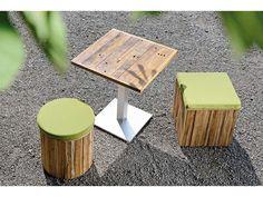 Stern Gartentisch/Bistrotisch Aluminium Edelstahloptik Old Teak 80x80 cm kaufen im borono Online Shop