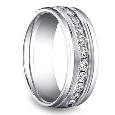 Groom style: Gentlemen, if you're all for comfort as well as durable style, the sparkle of the Channel Diamond Men's Wedding Ring in sturdy Platinum is for you! Wedding Men, Trendy Wedding, Wedding Bands, Wedding 2015, Wedding Story, Wedding Ideas, Diamond Wedding Rings, Diamond Rings, Ruby Rings