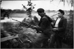 Cartier-Bresson. France WWII Brittany 1944 Morbihan. Near the city of Lorient not yet liberated. FFI (Forces Françaises de l'Intérieur) 1944