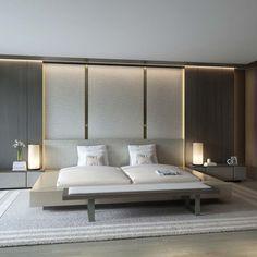 SUITE - Pared derecha habitación con pared central. Puerta corredera-cabecero con entradas lateral al baño.  ภาพ 3D Perspective Interior