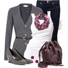 """Jeans & Cardigan"" by pinkroseten on Polyvore"