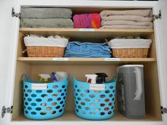 Organizing your laundry room and cleaning supplies... love her ideas