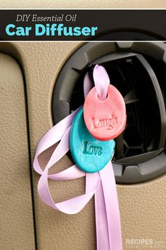 DIY Essential Oil Car Diffusers are bright, cheerful, easy to make and they help freshen your car naturally. No more stinky hanging trees!