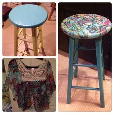 Top to Bottom! Old shirt...old stool...new decor! Used watered down glue anf paint brush.