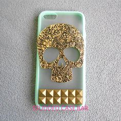 Phone 4/4s/5/5s/5c cover,iphone case,studded bronze studs and flower skull mint green color frosted translucent iphone 4/4s/5/5s/5c case on Etsy, $12.99