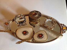 Antique Vtg GLOBE 7 FLORAL CHERUB VANITY SET Amber Glass Stones Ormolu Filigree #Globe #ebay #antiquevanityset