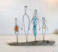 Wire Sculpture. Family Love. Folk Art Series. Mixed Media. Driftwood. Rustic House Decor.. $84.50, via Etsy.