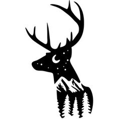Deer Head Silhouette, Silhouette Curio, Animal Silhouette, Silhouette Cameo Projects, Silhouette Design, Cricut Craft Room, Cricut Vinyl, Sky Design, Tumbler Designs