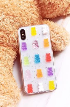 Channel happy vibes with this cute gummy bear iPhone/Samsung case. With random placement of the gummy bears, no two cases are the same. Ideal for iPhone X/XR/XS/Max, Max & Samsung series. Gummy Bear Candy, Gummy Bears, Cute Cases, Cute Phone Cases, Fun Conversation Starters, Glitter Phone Cases, Happy Vibes, Free Things, Surprise Gifts
