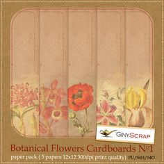 Botanical Flowers Cardboards No.1 by Giny Scrap