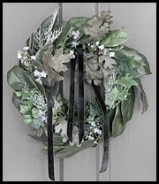 """The Victorian mourning wreath tradition speaks using the special meanings of FLowers, Herbs & Leaves. The base of the wreath is made of Laurel Leaves signifying GLory. Ivy trims the wreath denoting Friendship. The Oak Leaves signify Strength. The small Pansies say, """"You are in our Thoughts."""" The SiLvery Herb denotes Rosemary for Remembrance, & the Forget-Me-Nots stand for Hope & Remembrance."""