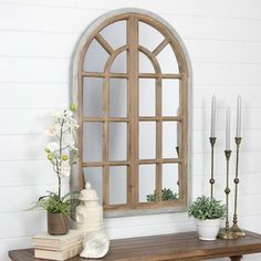 Create a cohesive look and feel in your living space by choosing this Aspire Home Accents Athena Farmhouse Arch Wall Mirror. Old Window Panes, Arched Window Mirror, Arch Mirror, Arched Windows, Mirror Vanity, Floor Mirror, Farmhouse Wall Mirrors, Rustic Mirrors, Home Decor Outlet
