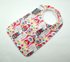 """Little Red Riding Hood Toddler Bib 10""""x 17"""" 1yr-3+ yrs, Red Riding, Grandma and the wolf, fairytale, woods, flowers, Girly bib, 100% cotton by TextileTrolley on Etsy"""