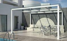 Πέργκολες. Μοντέρνα με πολυκαρμπονικά φύλλα. Ιδανική για εφαρμογές σε κήπους, πισίνες, roof garden κ.ά. Προσθέτει στυλ και είναι ιδιαίτερη αισθητική. Pergolas System. Modern with polycarbonate sheets. Ideal for gardens, swimming pools, roof gardens, etc. adding style and particular aesthetics.