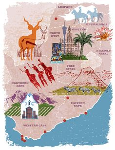 South Africa map by michael munday illustrator, via Flickr