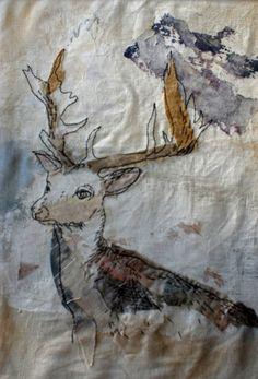 Unframed embroidered and appliquéd deer, Free Motion Embroidery, Felt Embroidery, Machine Embroidery Applique, Art Textile, Textile Artists, Stitch Drawing, Bird Applique, Bird Quilt, Contemporary Quilts