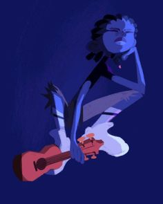 Blue boy and ukulele