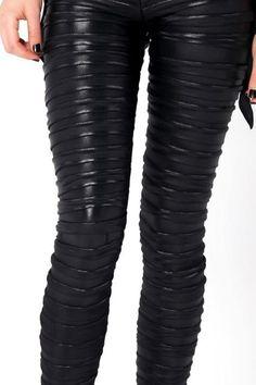 Futuristic Clothing, Cyberpunk Style, Black Leggings, Girl in Black, Legs, Black Milk Sophia James Tiered Leggings