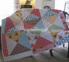 This quilt truly is Easy as Pie to make! Easy as Pie! can be pieced in a day and perfect for that last minute gift! Sometimes you just want to give something nice, but dont have the time or money to invest in an heirloom quilt. Easy as Pie! looks like you did! Ssshhh dont tell! Pattern offers 2 versions...My scrappy quilt is Fat Quarter friendly and uses almost the entire fat quarter! With very little waste! Pick 13 contrasting FQs from your favorite FQ bundle! The second version is made…