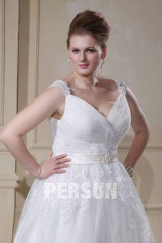 Applique Beading Organza V Neck Court Plus Size Wedding Dress Dressesmall