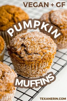 Delicious, healthy pumpkin muffins you and your family will love. Enjoy these yummy muffins for a fall breakfast at home or on the go. You can also serve them as a healthy snack to your kids. Healthy Muffins, Healthy Snacks, Healthy Breakfasts, Eating Healthy, Healthy Pumpkin Recipes, Vegan Breakfast Muffins, Clean Eating, Muffins Sans Gluten, Vegan Muffins Gluten Free