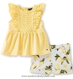 Baby Girl Clothes Tommy Hilfiger Baby Girls' 2 Pieces Set-Printed Shorts, Yellow, 6/9M