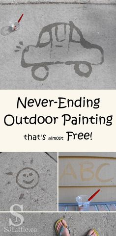 Chalk Alternative - Never-Ending Outdoor Painting that's almost Free Summer Preschool Activities, Outdoor Activities For Toddlers, Preschool Age, Indoor Activities, Outdoor Classroom, Outdoor Learning, Outdoor Painting, Backyard Games, Outdoor Games
