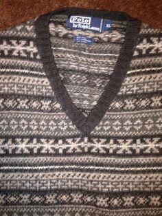 Polo Ralph Lauren Men's XL sweater vest Wool Lambswool Linen Indian #PoloRalphLauren