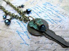 Key Lariat Necklace Handmade Beaded Jewelry by LittleBitsOFaith, $27.00