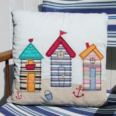 Three Beach Huts Cushion - CoastalHome.co.uk: Coastal Living