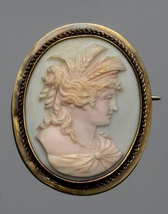 A conch shell cameo depicting the goddess Demeter, Victorian or Victorian style.