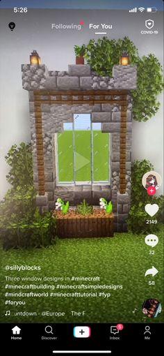 Minecraft Tutorial, Window Design, Simple Designs, Windows, World, Building, Outdoor Decor, Home Decor, Simple Drawings