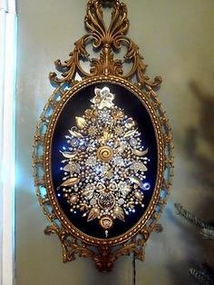 Huge Superb Vintage Framed Jewelry Christmas Tree w/ Lights, One of a Kind Art. on ebay