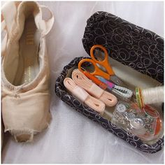 Upcycling old glasses cases into a sturdy and practical travel sewing kit - perfect for dance bags.  Fitzbirch Crafts