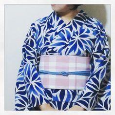 #三勝 ので #ゆかた に #博多阪急 のセールで買った #麻帯 のコーデ #多奈ゑり #着物 #きもの #キモノ #kimono #着かた教室 #着付け教室 #着付け #福岡の着付け教室 #福岡 #着物コーデ  #着物コーディネート #着物でお出かけ #着物生活 #趣着物