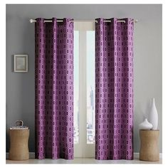 Kiya Printed Microfiber Light Blocking Window Panel - Purple