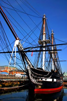 "USS Constitution, three-masted heavh frigate, nicknamed ""Old Ironsides."" Launched 21 October 1797. Perhaps the most famous American warship of all time."