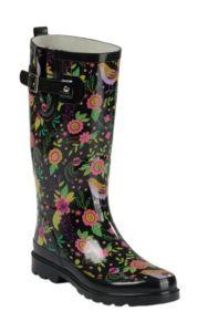 Western Chief Women's Black Bird Floral Print Round Toe Rain Boots | Cavender's