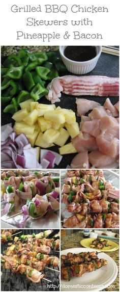 One of our favorite grilling recipes is Grilled BBQ Chicken Skewers with Pineapple and Bacon. They always turn out delicious! Healthy Salad Recipes, Real Food Recipes, Cooking Recipes, Paleo Meals, Delicious Recipes, Easy Recipes, Yummy Food, Grilled Bbq Chicken, Chicken Skewers