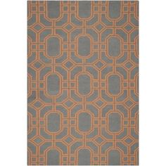 Safavieh Hand-woven Moroccan Dhurrie Blue/ Orange Wool Rug (6' x 9') - $299