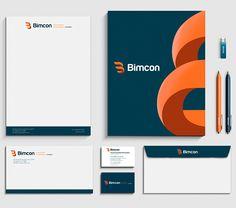 Diseño de la papelería corporativa de Bimcon, como parte del proyecto de branding global o proyecto de imagen corporativa