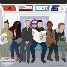 Monday, Oxford Circus to Brixton stations, Victoria line, London, January 2016 (Drawing Oxford Circus, London Underground, My Themes, January 2016, Brixton, David Bowie, My Drawings, Line, Family Guy
