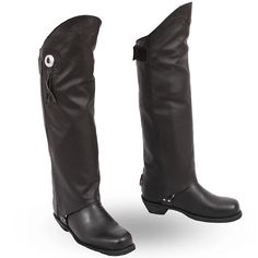 FMC Asphalt Knee High Biker Style Mens Leather Motorcycle Half Chaps are knee high, half chaps made of soft milled cowhide leather has concho design with hook & loop fastener for sizing, and rear zipper for easy on or off for bikers and motorcycle riders.