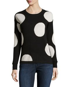 Cashmere+Polka-Dot+Sweater,+Black/Pure+by+Philosophy+Cashmere+at+Neiman+Marcus+Last+Call.