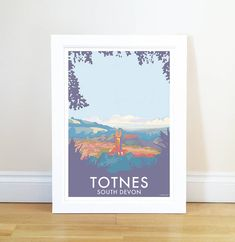Totnes Vintage Style Seaside Poster by Becky Bettesworth, the perfect gift for Explore more unique gifts in our curated marketplace. Travel Wall Art, South Devon, Picture Sizes, Travel Posters, Vintage Fashion, Vintage Style, Poster Prints, Tapestry, Frame